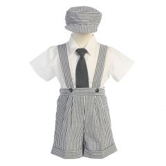 Lito Charcoal Stripe Seersucker Suspender Shorts Outfit Boys 12M-4T