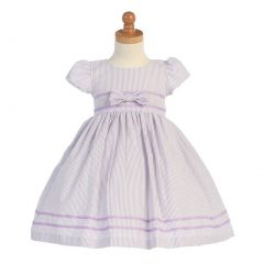 Lito Lilac Stripe Short Sleeve Seersucker Easter Dress Girls 5-7