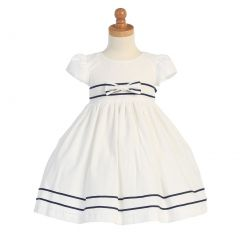 Lito White Navy Blue Stripe Seersucker Easter Dress Girls 3M-4T