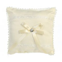 Lito Ivory Satin Lace Trim Ring Bearer Pillow