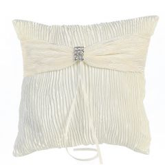 Lito Ivory Crinkled Satin Ring Bearer Pillow