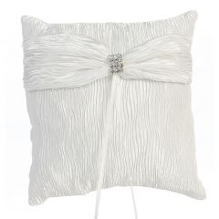Lito White Crinkled Satin Ring Bearer Pillow