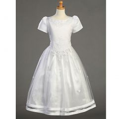 Lito Girls Satin Short Sleeve Tulle Overlay First Communion Dress 14