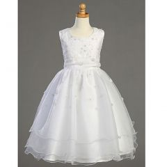 Lito Girls White Embroidered Organza Pearl First Communion Dress 7-14