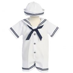Lito Baby Boys White Navy Sailor Romper Hat Outfit Set 3M-24M