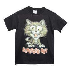 "Girls Black Cat ""Stressed Out"" Print Short Sleeve Cotton T-Shirt 6-16"