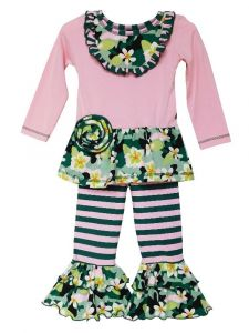 AnnLoren Little Girls Pink Camouflage Floral Outfit Clothing Set 2T-6X