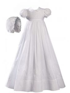 Baby Girls White Cotton Embroidered Short Sleeve Hat Christening Gown 0-12M