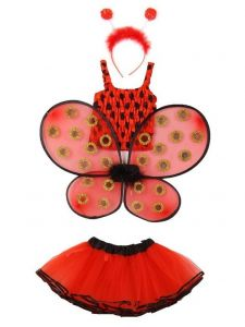Little Girls Red Top Tutu Skirt Wings Headband 3 Pc Lady Bug Set 1-4T