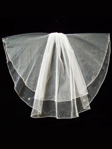 Big Girls Women White Pencil Edge Bubble Beading Communion Bridal Wedding Veil 23