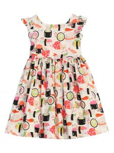 Kids Dream Girls Multi Color Sushi Cat Butterfly Sleeve Easter Dress 2-12