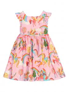 Kids Dream Little Girls Pink Rainbow Butterfly Sleeve Unicorn Easter Dress 4-6