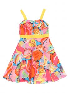Kids Dream Little Girls Pink Tropical Fish Sleeveless Pin Up Easter Dress 2-6
