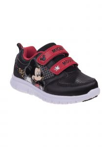 Disney Little Boys Black Red Mickey Mouse Sneakers 7-10 Toddler