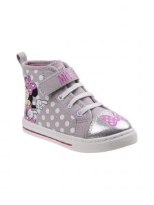Disney Little Girls Gray Pink Minnie Lace-Up Hook-And-Loop Sneakers 7-10 Toddler