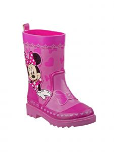 Disney Little Girls Pink Minnie Print Grippy Outsole Rain Boots 7-12 Toddler