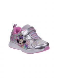 Disney Little Girls Silver Minnie Mouse Hook And Loop Lighted Sneakers 6-10 Toddler