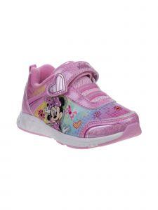 Disney Girls Pink Multi Minnie Mouse Heart Sneakers 11-12 Kids