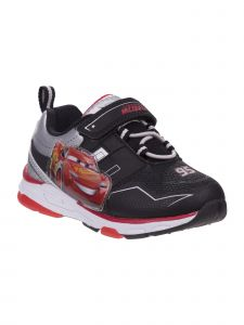 Disney Little Boys Black Red Cars Hook And Loop Light-Up Sneakers 7 Toddler