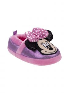 Disney Girls Pink Minnie Mouse Plush Slippers 6 Toddler-12 Kids