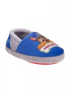 Nickelodeon Boys Blue Red Paw Patrol Plush Slippers 12-1 Kids