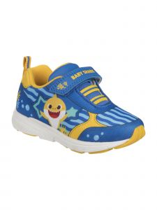 Disney Boys Blue Yellow Baby Shark Hook And Loop Sneakers 5-10 Toddler