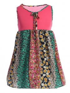 Story Kids Little Girls Green Pink Floral Print Paneled Sleeveless Dress 2-6