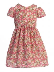 Story Kids Little Girls Dusty Pink Floral Print Cold-Shoulder Dress 2-6