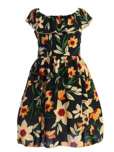 Story Kids Big Girls Dark Navy Tangerine Floral Print Ruffle Dress 8-12