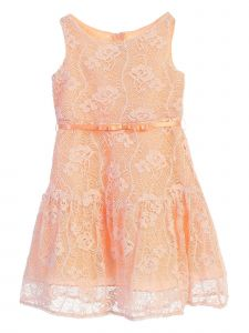 Chic Baby Little Girls Peach Floral Lace Tea-Length Flower Girl Dress 4-6