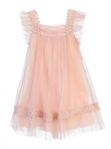 Chic Baby Little Girls Dusty Rose Embroidered Trim Flower Girl Dress 2-6