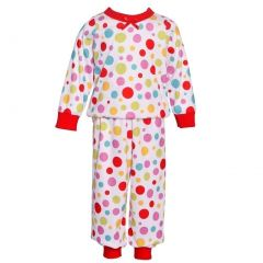 Laura Dare Little Girls Red Multi Polka Dot Long Sleeve 2 Pc Pajama Set 2T-6X