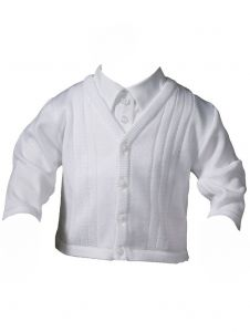 Baby Boys White Cotton Satin Acrylic Special Occasion Sweater 0-24M