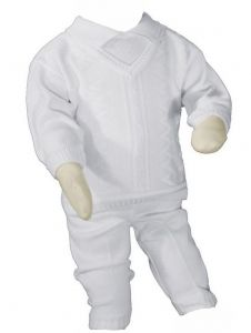 Baby Boys White Cotton Knit 2 Piece Christening Outfit NB-24M