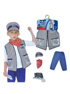 Wenchoice Little Boys Blue Red Train Conductor Halloween Jacket Hat Costume 3-8