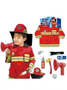 Wenchoice Little Boys Red Firefighter Halloween Vest Hat Accessories Costume 3-7
