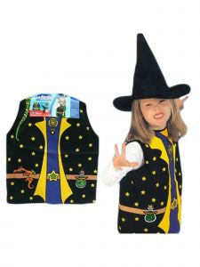 Wenchoice Big Girls Multi Color Witch Halloween Vest Hat Costume 3-8