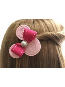 Mimos by Tia Girls Pink Brooch Accented Ear Shaped Minnie Hair Clippie