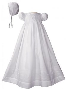Baby Girls White Cotton Hand Smocked Embroidered Bonnet Christening Gown 3-24M