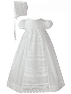 Baby Girls White Cotton Venice Lace Short Sleeved Hat Christening Gown 0-12M