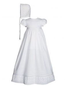 Baby Girls White Cotton Lace Short Sleeve Hat Christening Gown 0-12M