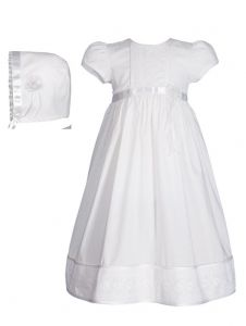Baby Girls White Cotton Floral Lace Bonnet Christening Dress Gown 0-12M