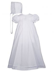 Baby Girls White Cotton Victorian Style Bonnet Christening Dress Gown 0-12M