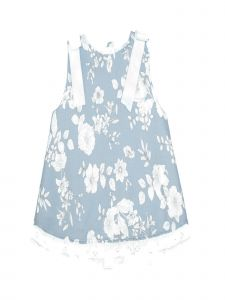 Coquelicot Little Girls Light Blue Satin Bows Cherry Otoman Printed Dress 2-3T