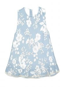 Coquelicot Little Girls Light Blue Jacquard Kiwi Otoman Printed Azul Dress 2T-6