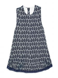 Coquelicot Baby Girls Navy Jacquard Lace Trim Hem Kiwi Verona Azul Dress 3-18M
