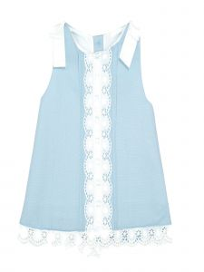 Coquelicot Little Girls Light Blue Cotton Lace Trim Lime Pique Celeste Dress 2T