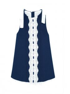 Coquelicot Little Girls Navy Cotton Lace Trim Lime Pique Marino Dress 2T
