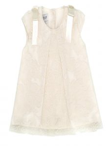 Baby Girls Ivory Linen Tulle Panel Bow Lychee Giardino Jacquard Dress 3-18M