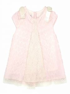 Coquelicot Baby Girls Pink Linen Tulle Panel Bow Lychee Verona Rosa Dress 3-18M